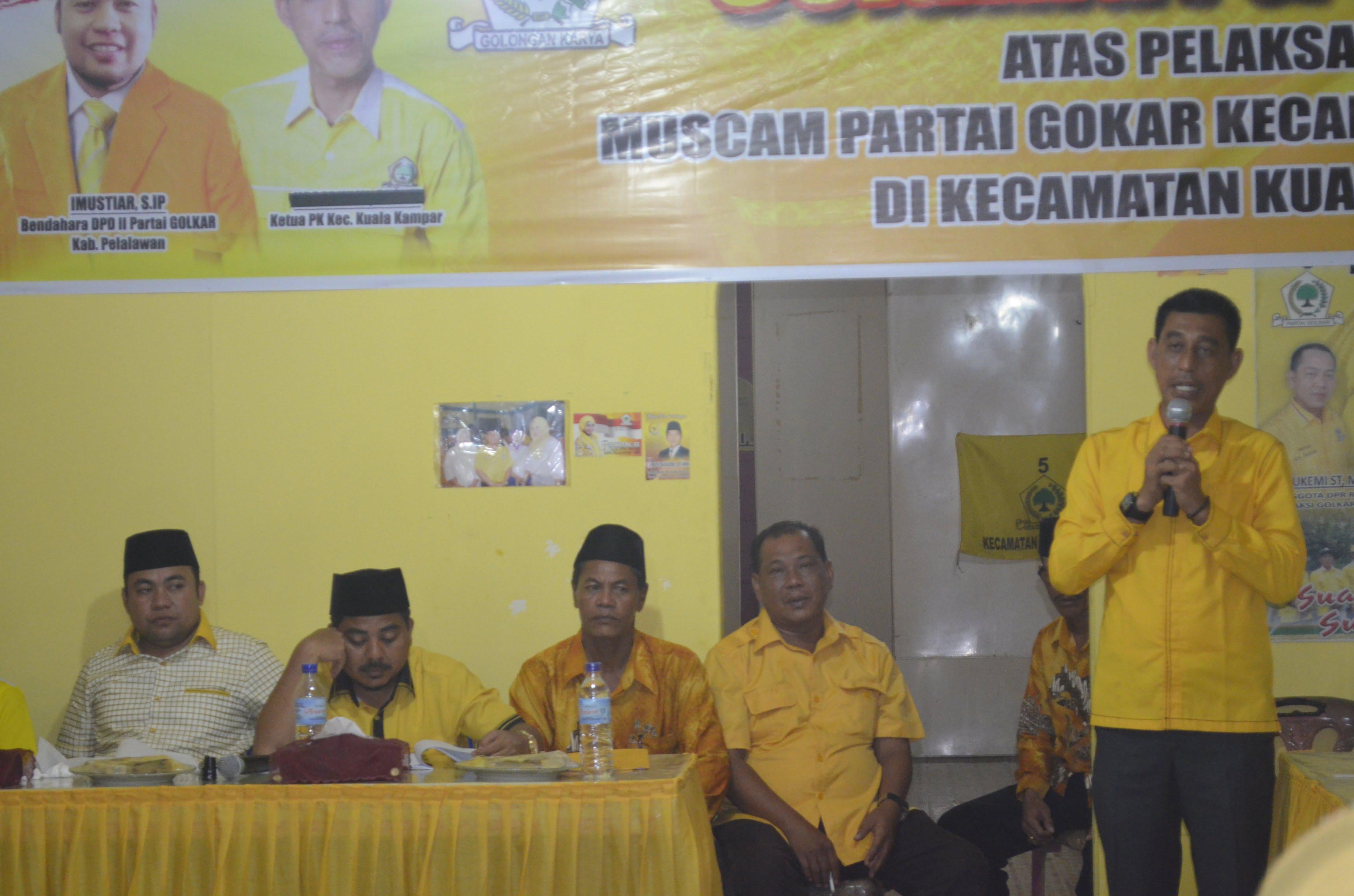 Said Mashudi saat pidato politiknya stelah terpilih kembali menjadi Ketua PK GOLKAR Kecamatan Kuala Kampar
