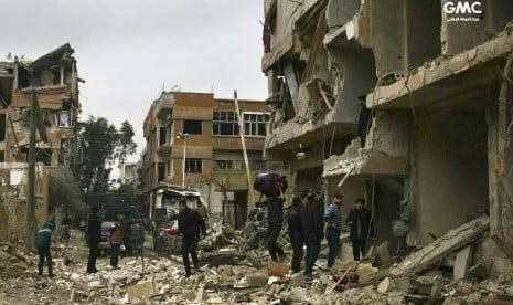 bangunan yang hancur akibat pengeboman di ghouta timur pinggiran 180223182250 681