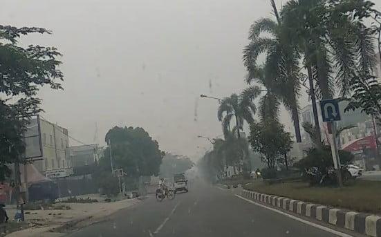 Derita Kabut Asap Sudah 15 Hari di Pelalawan, Tak Ada Perubahan bahkan Tambah Parah