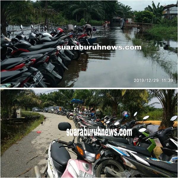 Pilih Parkir Aman dari Banjir Warga Parkir Kendaraan di Sepanjang Jalan