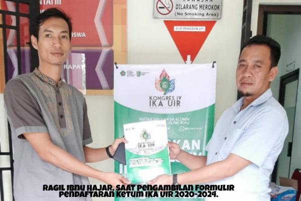 Ragil Ibnu Hajar Ambil Berkas Pendaftaran Balon Ketua Umum IKA UIR