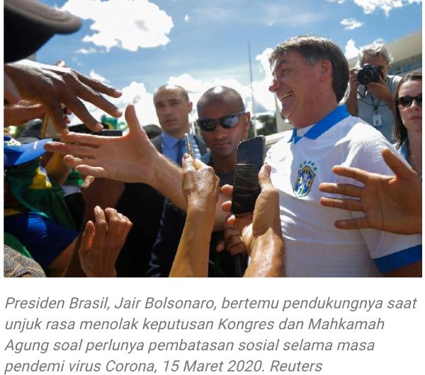 JairBolsonaro, Presiden Brazil Positif Terinfeksi Virus Corona